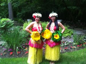 hula dancers in the garden